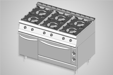 Baron oven range 6 burner 900 Series - Model 9PCF/G1205