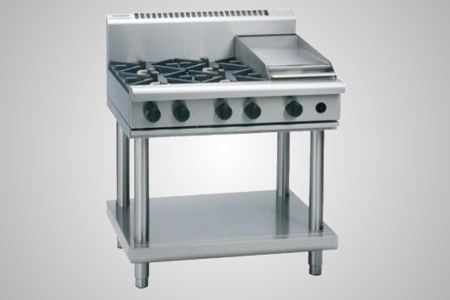 Waldorf 4 burner gas cooktop 300mm griddle on leg stand - Model RN8603G-LS