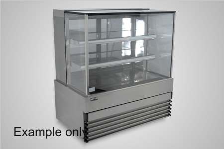 Koldtech cake display 900 square glass refrigerated - Model SQRCD-9