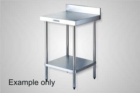 Simply Stainless 600 Series work bench with splashback - Model SSS02-0900