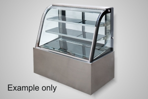 Anvil 1200 curved glass refrigerated cake display - Model DSC0740