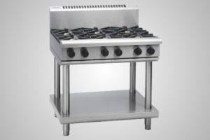 Waldorf 6 burner gas cooktop on leg stand - Model RN8600G-LS
