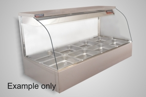 Woodson hot food display 3 bay curved glass - Model WHFC23G-65