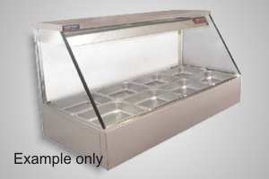 Woodson hot food display 3 bay straight glass - Model WHFS23G-65