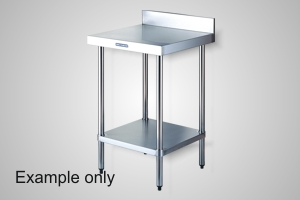 Simply Stainless 600 Series work bench with splashback - Model SSS02-0600