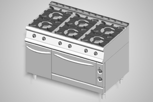 Baron oven range 6 burner 700 Series - Model 7PCF/G1205